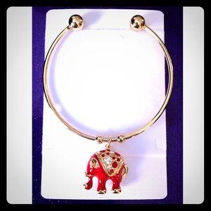 Swarovski Red Elephant Enamel Gold Bracelet
